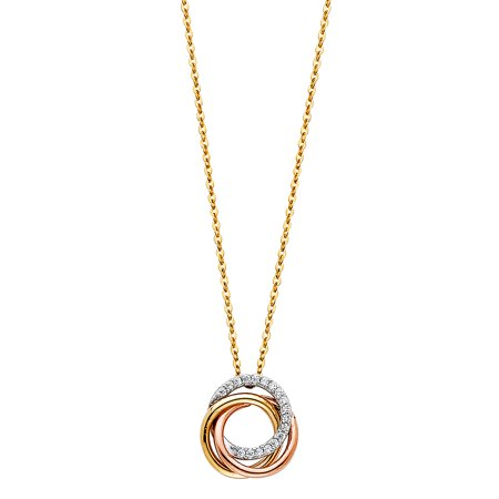 Ioka - 14K Tri Color Gold Trinity (3) Rings Love Knot Infinity Love Charm With Cubic Zirconia CZ Chain Necklace - 17+1