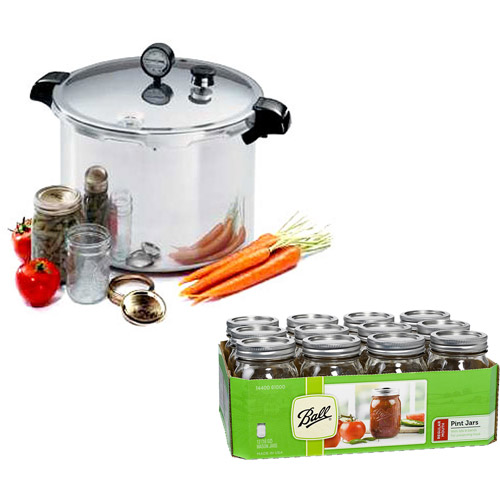 Presto 23-Quart Aluminum Pressure Canner & 12 Ball Pint Jars Value Bundle