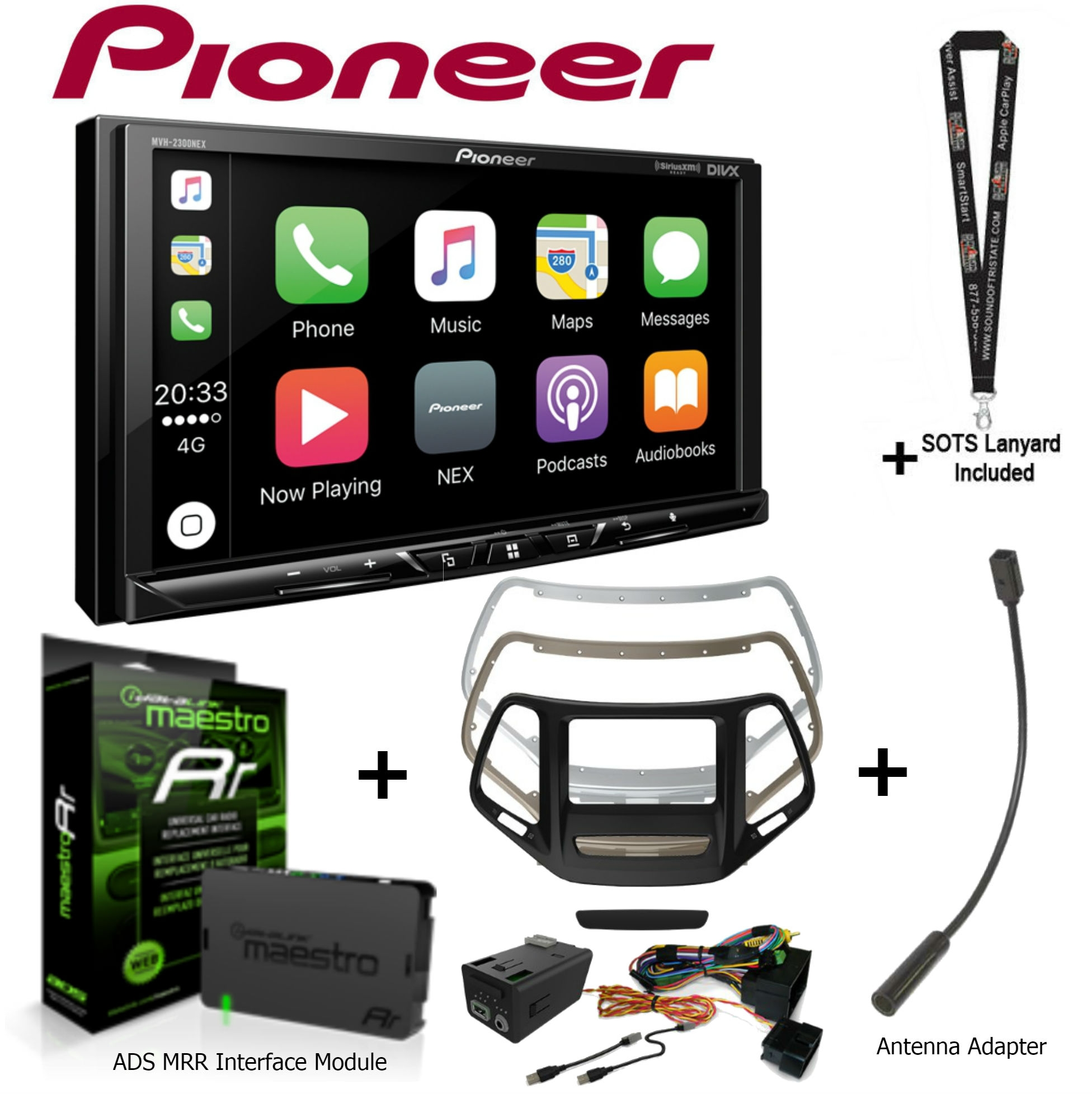 """Pioneer MVH-1400NEX 6.2"""" Multimedia Receiver (no CD's), iDatalink KIT-CHK1 Dashkit for Jeep cherokee, ADS-MRR and... by Pioneer"""