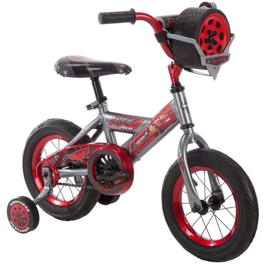 "Disney Pixar Lightning McQueen 12"" Boys' Red Bike with Sounds, by Huffy"