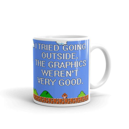 Outside Hooded Cup (I Tried Going Outside The Graphics Coffee Tea Ceramic Mug Office Work Cup Gift 15 oz)