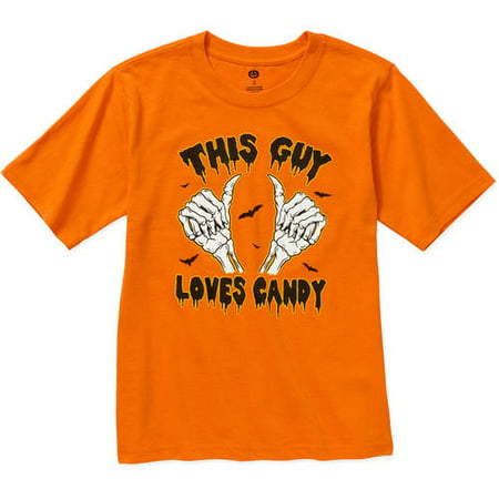 Happy Halloween Boys Orange This Guy Loves Candy T-Shirt - Annoying Orange Happy Halloween