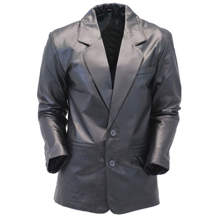 Embossed Leather Blazer - Two Button Lambskin Leather Blazer / Sports Coat #M118K