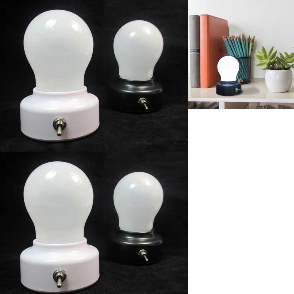 4 LED Light Bulb Set Portable Lamp Closet Battery Operated Cabinet Home Kitchen