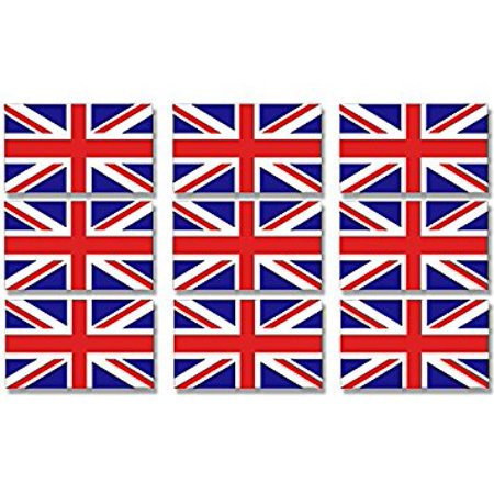 Sheet of 9 Union Jack Flag Sticker Decal (UK Britain scrapbook decal) Size: 1 x 2 inch (set of 9)