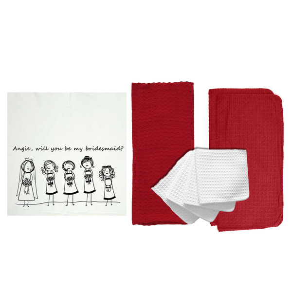 "Personalized ""Will You Be My Bridemaid? 2"" 8 Piece Kitchen Towel Set"