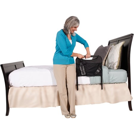 Image of Able Life Bedside Safety Handle + Organizer Pouch - Adjustable, black