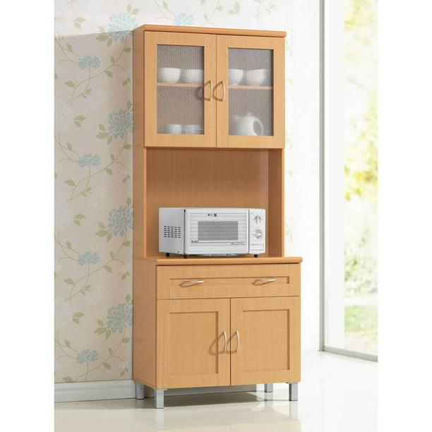 Hodedah Tall Free Standing Kitchen Cabinet Beech Walmart Com Walmart Com
