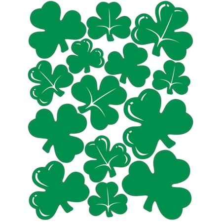 Party Place Website (St Patricks Day Green Shamrocks Peel 'N Place Party Wall Clings)