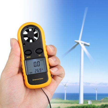 Anemometers Handheld Wind Speed Meter Portable Wind Gauges Air Flow Thermometer with LCD Backlight for Windsurfing Kiteflying Sailing Surfing Fishing