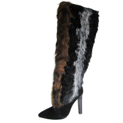 Jeffrey Campbell Womens Mouk-2 Knee High Faux Fur Boot Shoe