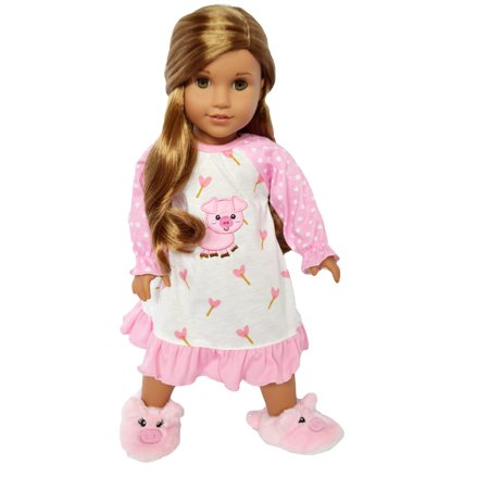 My Brittany's Piggy Nightgown and Slippers for American Girl Dolls/18 Inch Doll Clothes/Fits My Life As Dolls/Our Generation Dolls (My Generation Doll)