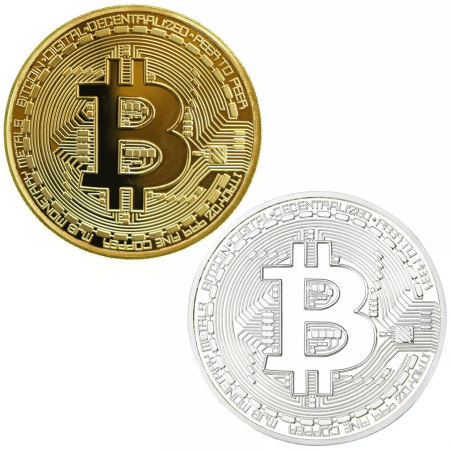 Bitcoin Challenge Coin Deluxe Collector's Set Featuring the Limited Edition Original Commemorative Tokens w/ Display Case - 2 Pcs with Random Color and Design