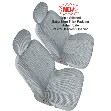 Comfort All Weather Triple Sched Thick Padded Front 2 Low Back Seat Cover Pair For Toyota Prius Gray Grey