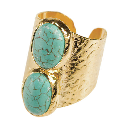 American Coin Treasures 24K Gold Oval Double Turquoise Howlite Cigar Ring