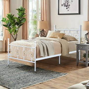 FurnitureR CONWAY Twin Size Metal Bed Frame Platform with Headboard and Stable Metal Slats, White