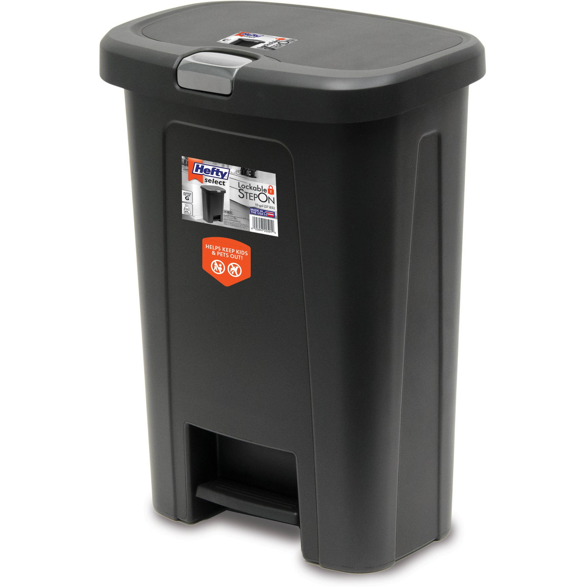 HEFTY 10G Wide Step On Textured with Silver Lid Lock Trash Can, Black by Reynolds Consumer Products LLC