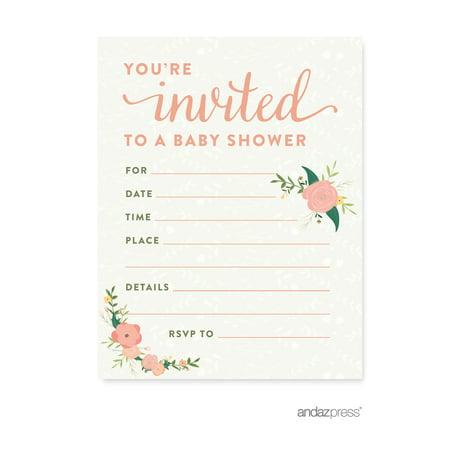 floral roses girl baby shower blank invitations 20 pack. Black Bedroom Furniture Sets. Home Design Ideas
