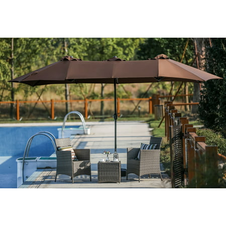 Twin 9' x 15' ft. feet Outdoor Patio Rectangular Market Umbrella - Brown