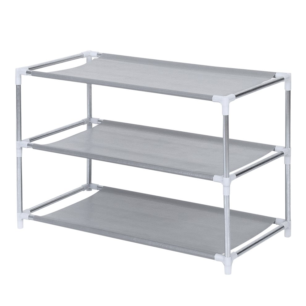 3 Tier Metal Shoe Rack Shoes Stand Removable Dust-Shelves Storage Organizer Shelf Holder Stackable Closet For 9 Pair Shoes
