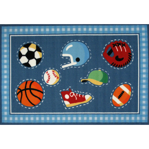 Fun Rugs Olive Kids Go Team! Sports Blue Area Rug