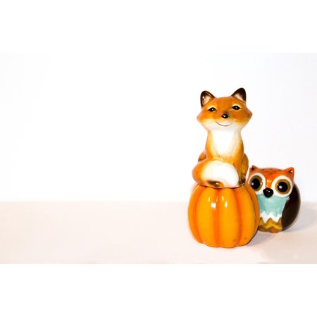 LAMINATED POSTER Figures Pumpkin Background White Toy Fox Toy Owl Poster Print 24 x 36 - Owl Pumpkin