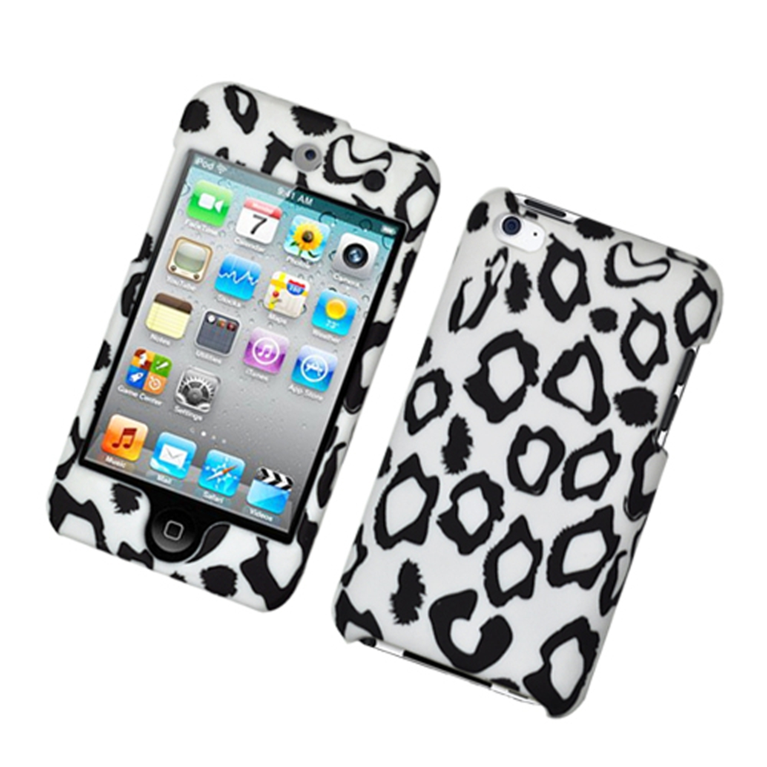iPod Touch 4th Generation Case, by Insten Leopard Hard Snap-in Protective Back Case Cover For Apple iPod Touch 4th Gen - White/Black