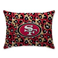 San Francisco 49ers Leopard Plush Bed Pillow - Red