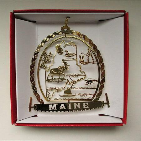 maine state brass christmas ornament souvenir gift ()
