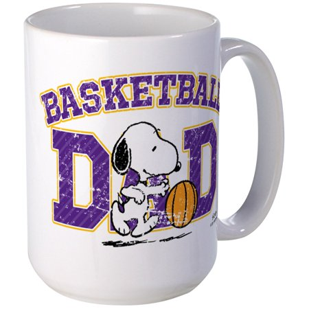 CafePress - Snoopy Basketball Dad Large Mug - 15 oz Ceramic Large Mug Basket Large Mug
