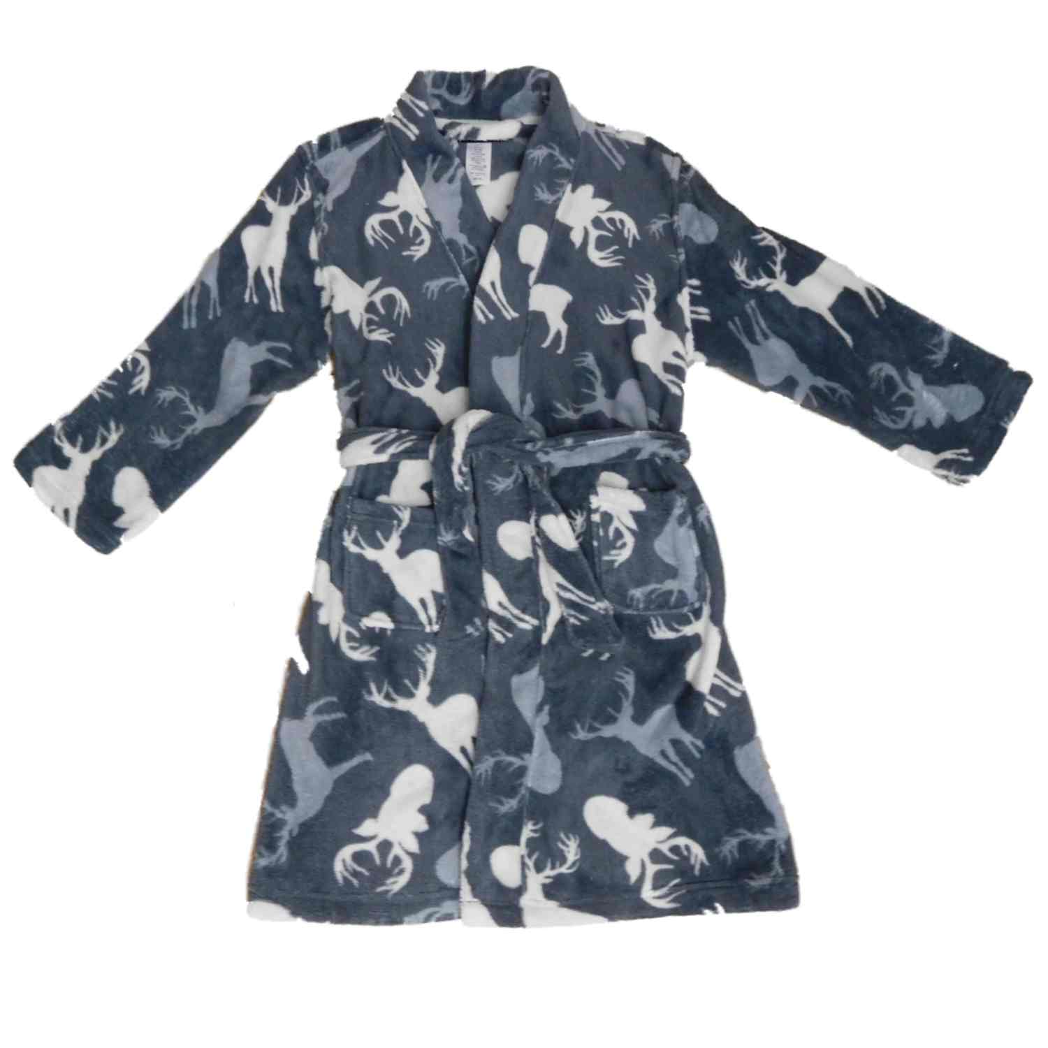 Boys Gray Plush Gray & White Tail Deer House Coat Bath Robe