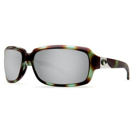 136d6138df900 Costa Del Mar - Costa Del Mar Isabela Shiny Seagrass Rectangular Sunglasses  Silver Lens 580P - Walmart.com
