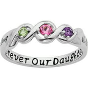 Personalized Daughter's Name and Date Birthstone Ring in Sterling Silver