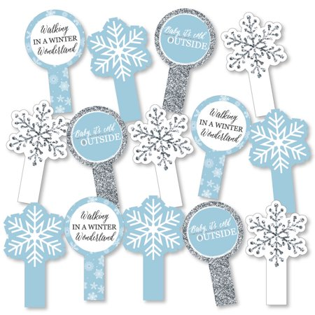 Winter Wonderland - Snowflake Holiday Party & Winter Wedding Party Paddle Photo Booth Props - Selfie Photo Props -14 Ct