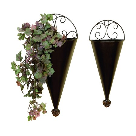 Design Wall Planter - Metal Wall Planter Set Of 2 Portable Plantation Decor