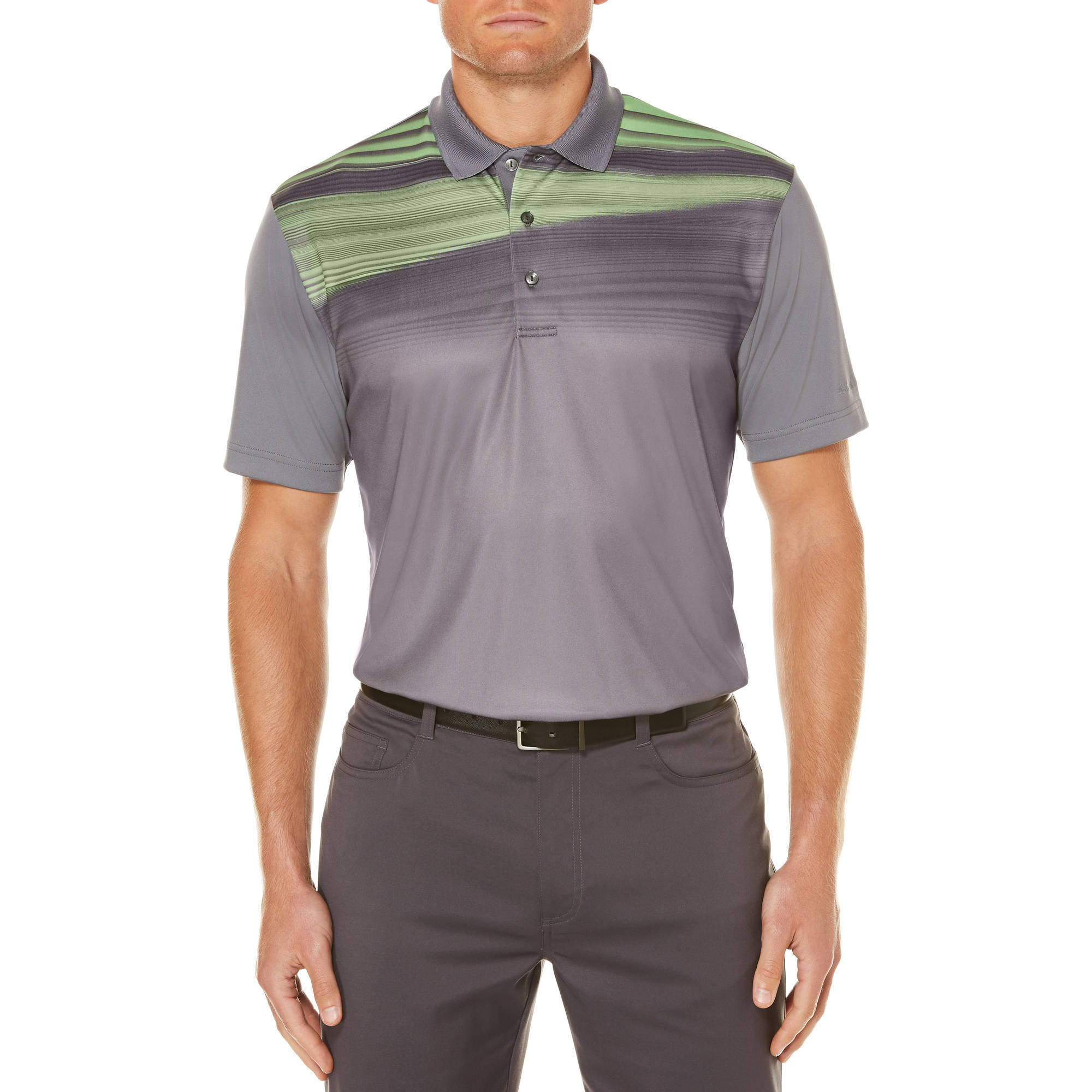 Men's Performance Short Sleeve Linear Chest Print Golf Polo Shirt
