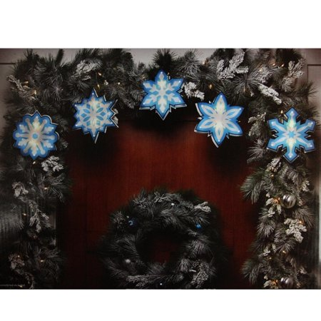 Impact 7' Blue and White Shimmering Snowflake Christmas Light Garland with 10 Clear Mini Lights - White Wire (10 Snowflake)