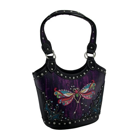Western Rhinestone Dragonfly Tie Dye Look Concealed Carry Shoulder Bag