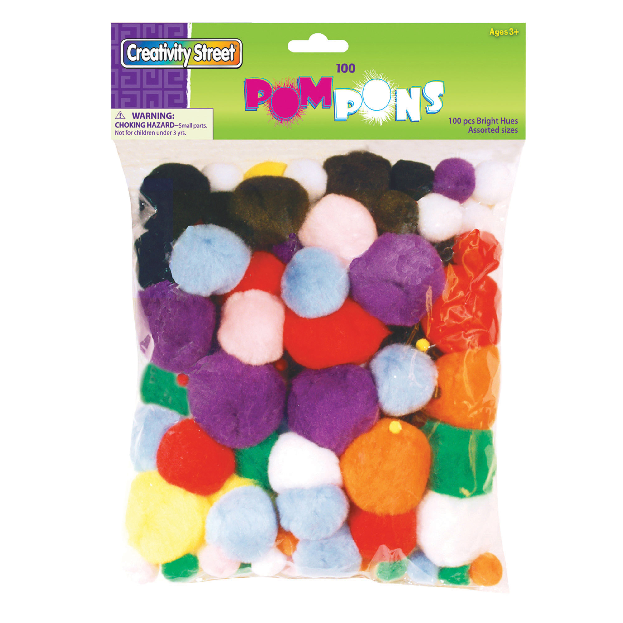 Creativity Street® Pom Pons, Bright Hues, Assorted Sizes - 100 per pack, 3 packs