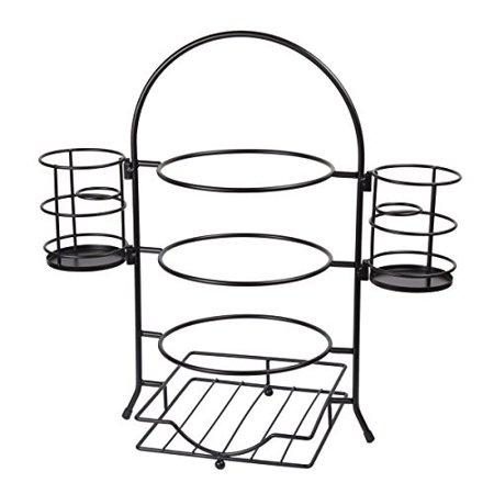Dishwasher Flatware Rack (Creative Home 50273 3-Tier Plate Rack With Removable Flatware Holder Black)
