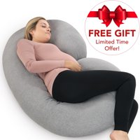 PharMeDoc Pregnancy Pillow with Soft Jersey Cover and Travel Bag - C Shaped Body Pillow for Pregnant Women