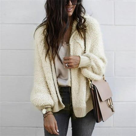 Winter Warm Women Faux Wool Fur Bomber Jacket Wild Loose Faux Wool Fur Hooded Jacket Coat Plus Size (Womens Faux Leather Bomber Jacket With Hood)