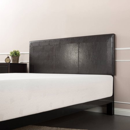 Zinus Faux Leather Top-Stitched Queen Headboard, Espresso