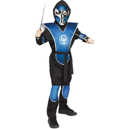 Blue Chrome Raven Ninja Boy's Child Halloween Costume