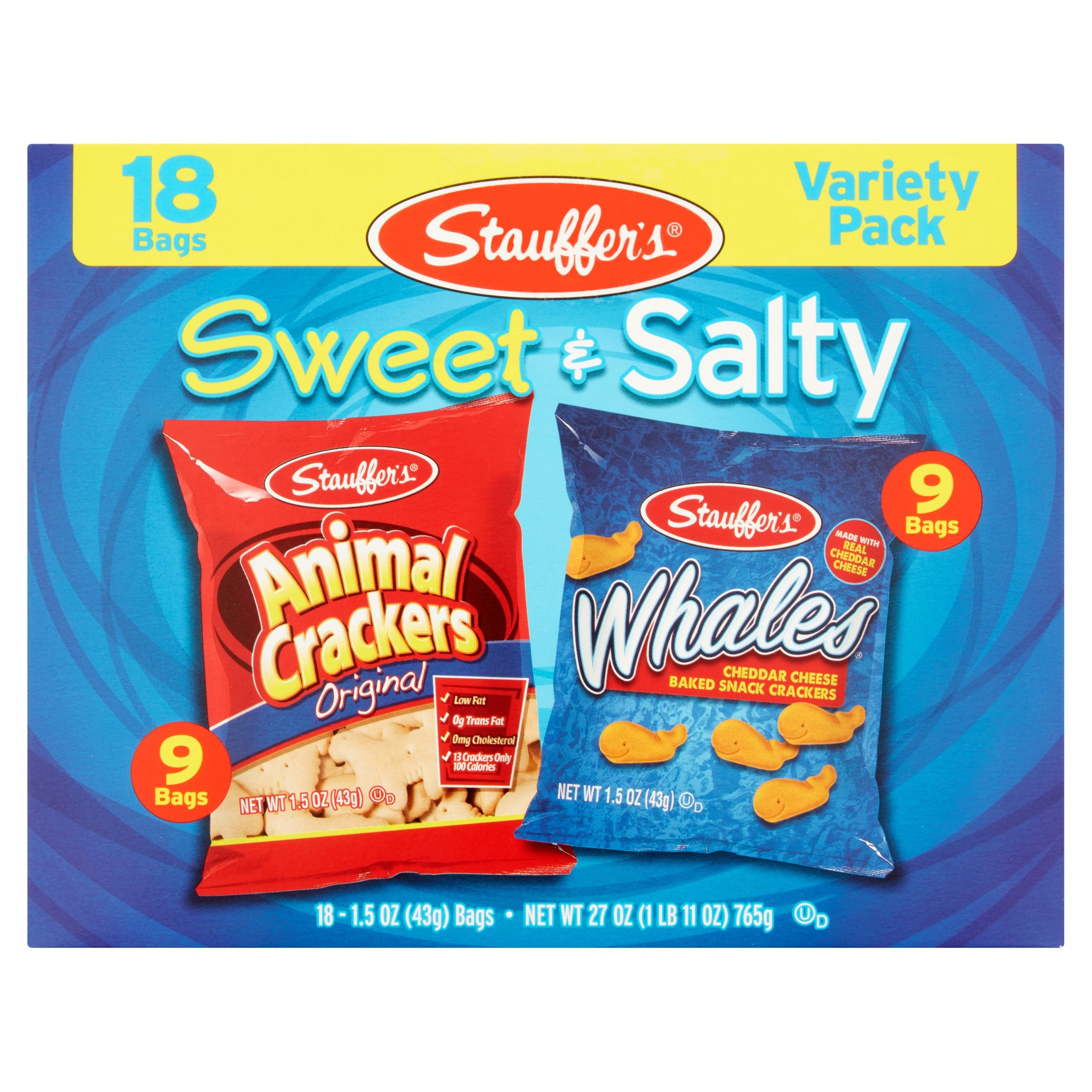 Stauffer's Original Animal Crackers & Whales Cheddar Cheese Crackers Sweet & Salty Variety Pack, 1.5 Oz., 18 Count