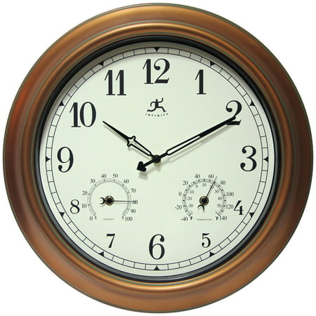 Image of 18inch Waterproof Plastic Wall Clock Radio Movement aged Copper Frame Clock
