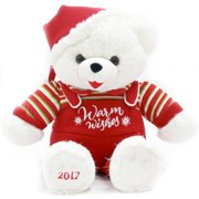 """Holiday Time 20"""" White Snowflake Teddy With Red Santa Hat Plush Toy"""