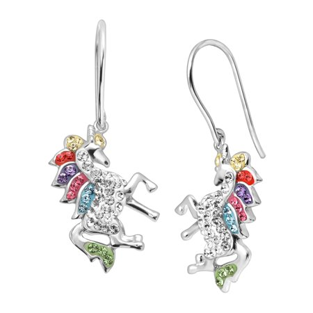 Unicorn Drop Earrings with Swarovski Crystals in Sterling Silver