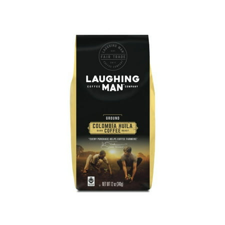 Laughing Man Colombia Huila Ground Coffee, Fair Trade Certified, Dark Roast, Bagged 12oz