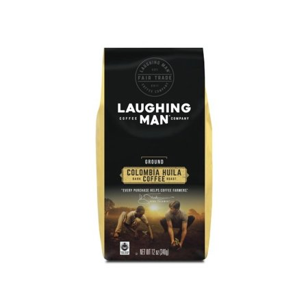 Laughing Man Colombia Huila Ground Coffee, Fair Trade Certified, Dark Roast, Bagged